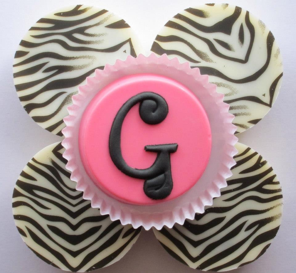 Hot Pink G and Zebra Chocolate Cover Oreos