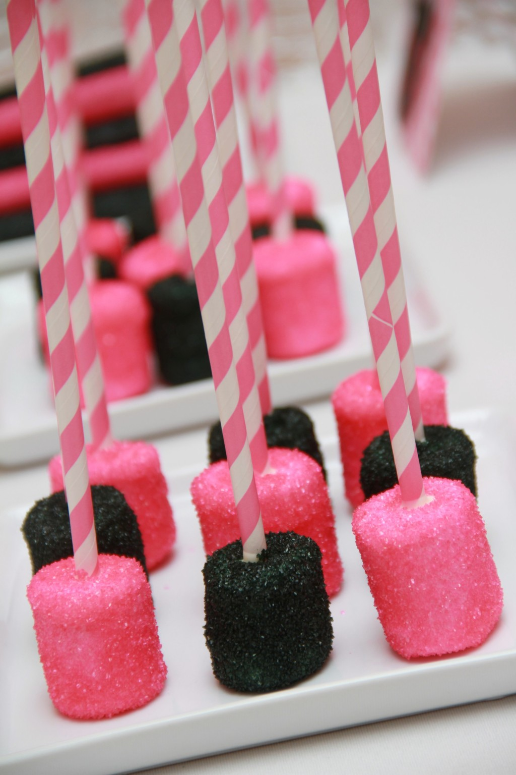 Hot Pink & Black Chocolate Covered Marshmallows